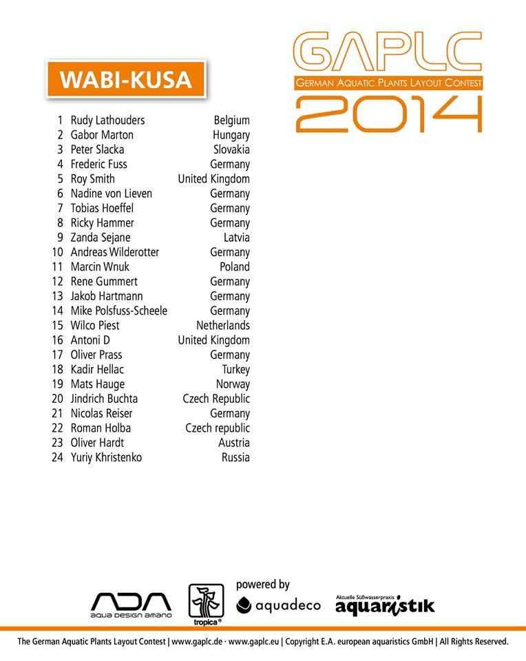 Wyniki GAPLC 2014 Wabi Kusa